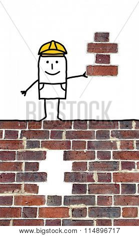 cartoon foreman holding a missing piece for a wall