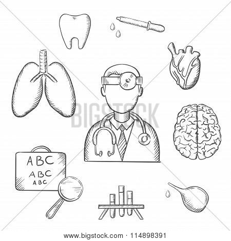 Human organs and medical sketch icons