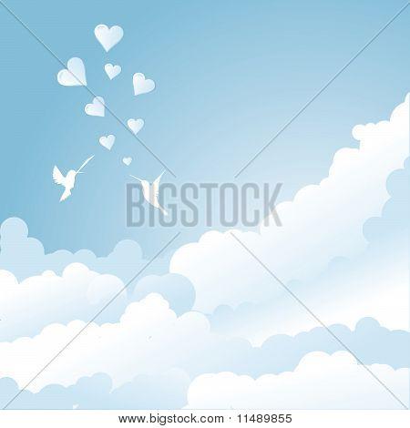 Bird's Love In Sky