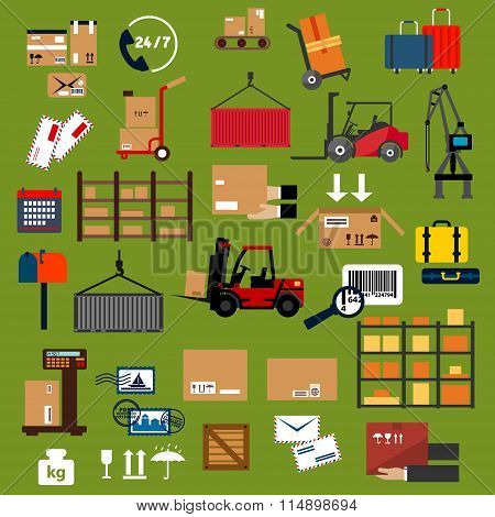 Storage, delivery and logistics flat icons