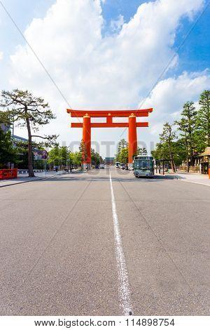 Heian Shrine Torii Gate Jingu-michi Street Kyoto
