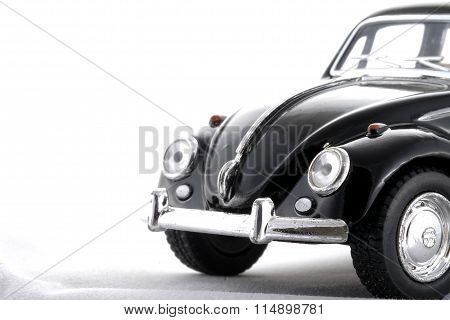 Nonthaburi, Thailand - January 16, 2016 : Volkswagen Vw Beatle In Black  Toy Model Car On White Back