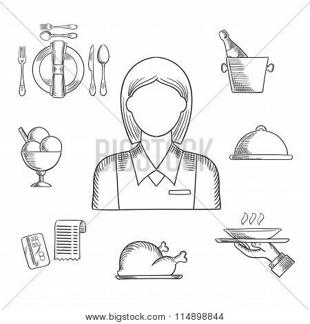 Hand drawn waitress and restaurant items