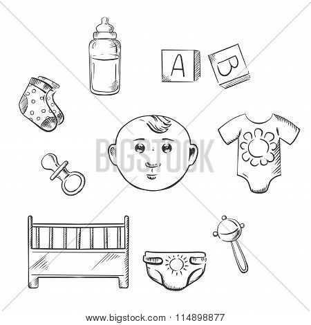 Child toys and objects in sketch style