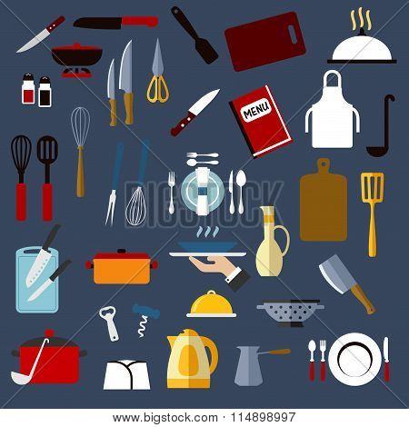 Kitchen utensil and dishware flat icons