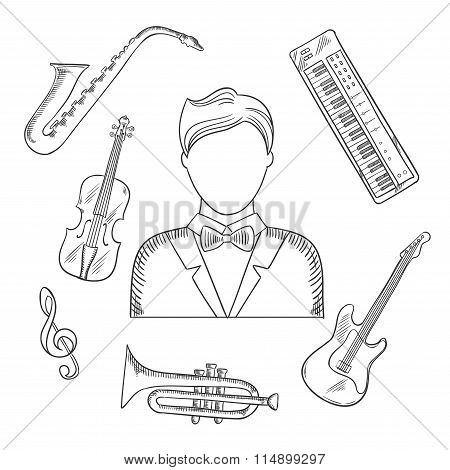 Musical hand drawn icons and objects