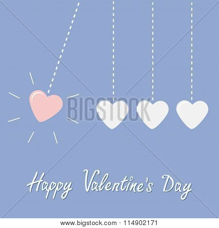 Four Hanging Hearts Dash Line. Perpetual Motion. Happy Valentines Day. Love Card. Rose Quartz Sereni