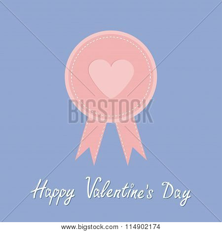 Badge With Heart And Ribbons. Award Icon In Flat Design Style. Happy Valentines Day. Dash Line. Rose