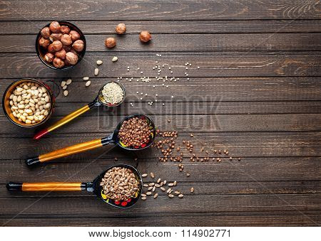 Wooden Spoons Painted With Khokhloma Whith Cereal
