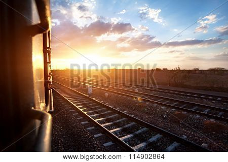 Indian Train At Sunset