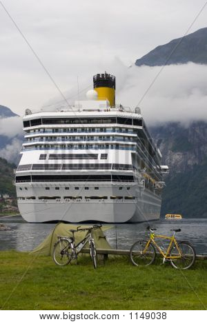 Cruise Liner In The Geirangerfjord