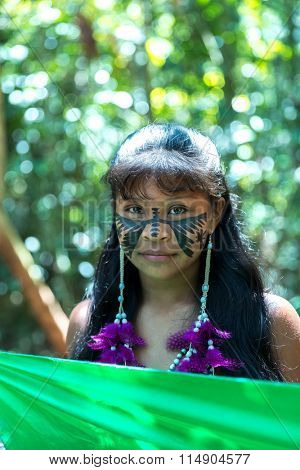Portrait of a Native Brazilian girl at an indigenous tribe in the Amazon
