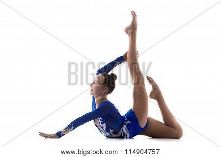 Flexible Girl Doing Acro Exercise