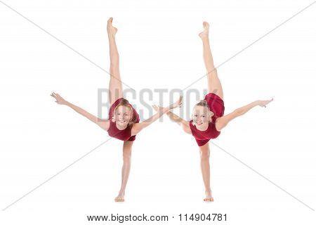 Two Dancer Girls Doing Standing Backbend