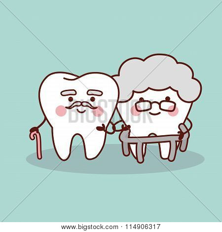 Happy Cartoon Old Tooth