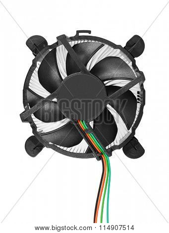 Cooler computer fan, isolated on white background