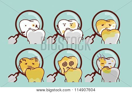 Cute Cartoon Decayed Tooth