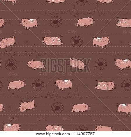 Happy Pink Piggies With White Patterns And Brown Background