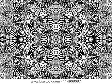 Zentangle Background Hand Drawn Black White Lines 3
