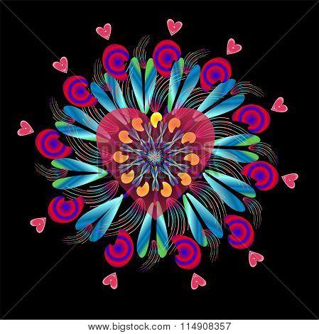 rosette and heart,