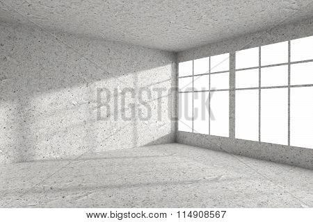 Empty Spotted Concrete Room Corner With Windows Interior