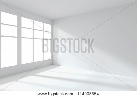 Empty White Room Corner With Windows Interior
