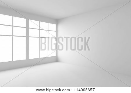 Empty White Room Corner With Windows, White Interior