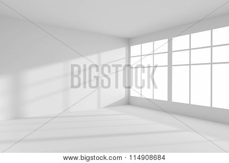 Empty White Room With Windows Interior