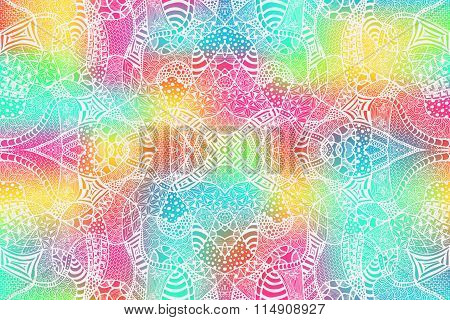 Zentangle Background Hand Drawn White Colorful 2