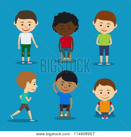 Funny kids boys vector illustration.