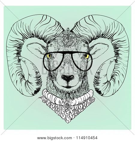 hipster portrait of ram with glasses