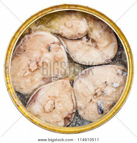 Tinned Mackerel Fish In Oil Isolated