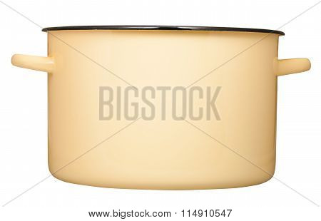 Side View Of Big Yellow Enamel Saucepot Isolated