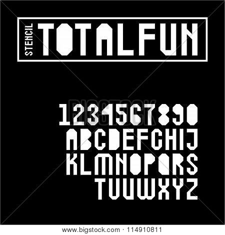 Geometric Stencil Font Set In Uppercase