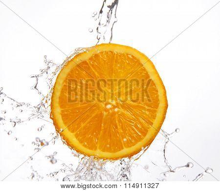 Falling Water And Juicy Orange