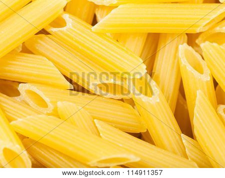 Durum Wheat Semolina Pasta Penne Rigate Close Up