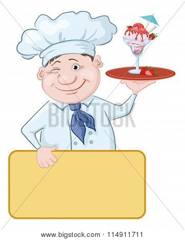 Chef with Ice Cream and Strawberries