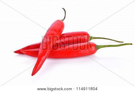 Red Chilli Peppers On White Background