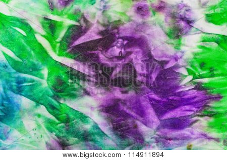Abstract Painted Green And Lilac Nodular Batik