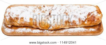 Traditional Viennese Apple Strudel On Wooden Board