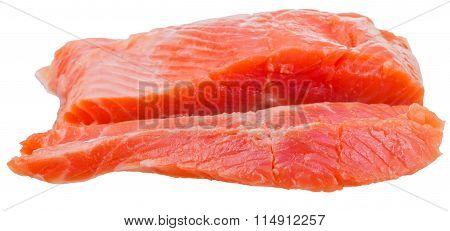 Side View Of Sliced Slightly Salted Trout Red Fish