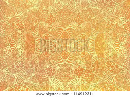 Zentangle Background Hand Drawn Retro Gold