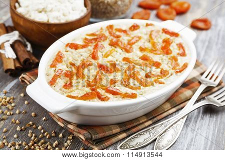 Buckwheat Casserole With Cottage Cheese And Dried Apricots