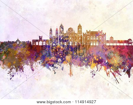 Cadiz Skyline In Watercolor Background