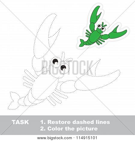 Crawfish to be traced. Vector trace game.