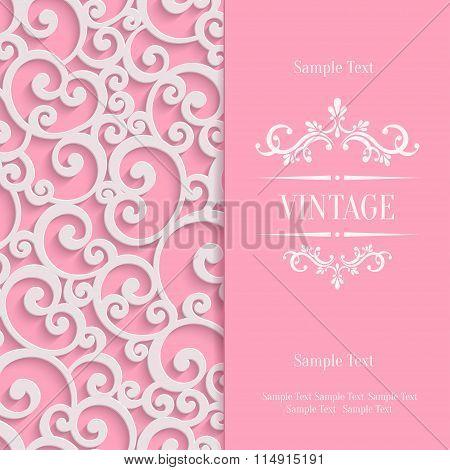 Vector Pink 3d Vintage Invitation Card with Floral Damask Pattern