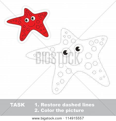 Starfish to be traced. Vector trace game.