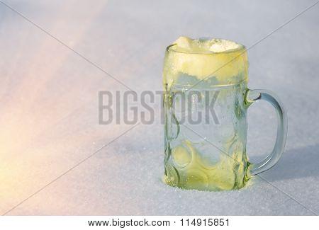 Glass Mug In The Snow