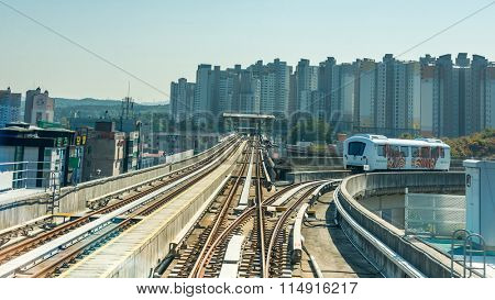 Seoul, South Korea - October 25, 2015: View of fully automated Driverless guided transits (AGT)  Yongin Everline Metropolitan Subway in Seoul.