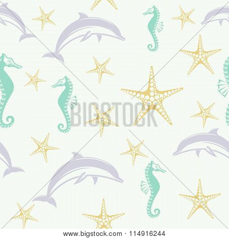 vector pattern dolphin seahorse and starfish